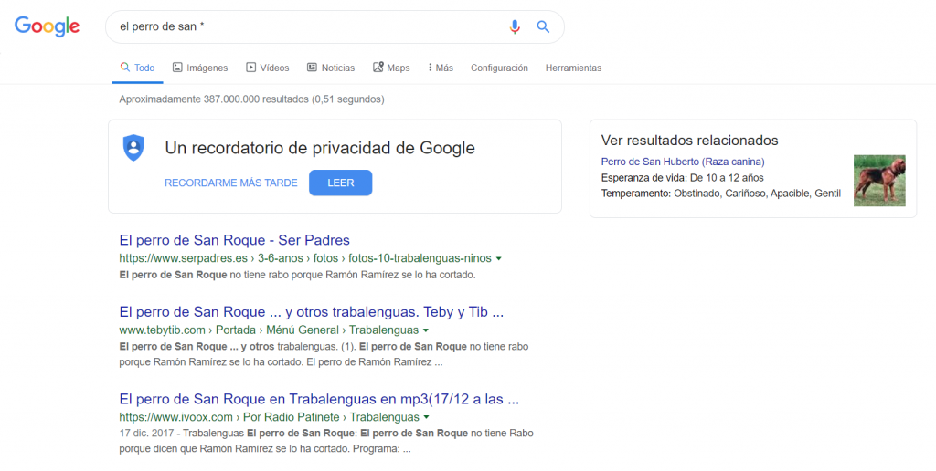 comando google asterisco