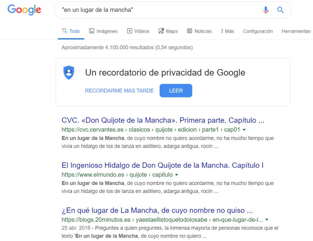 comando google comillas