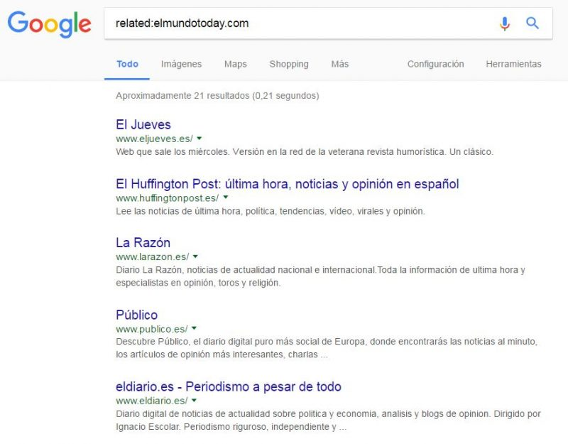 comando google related
